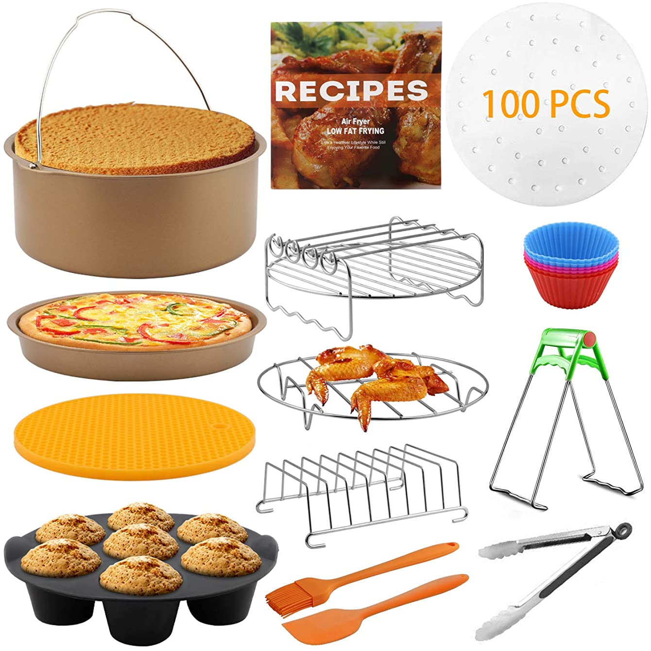 14 Pcs XL Air Fryer Accessories for Gowise Phillips Cozyna Ninja 4.2/4.5/5.5/5.8/6.5 QT with Recipe Cookbook, Rust Proof 8'' Cake Barrel, Pizza Pan, 9'' Air Fryer Liners, Silicone Oil Brush?
