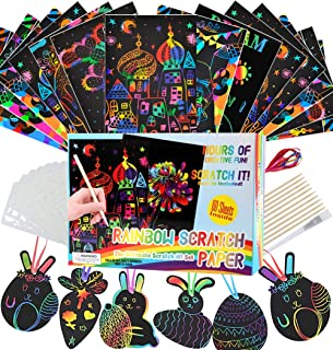 AOLIGE Rainbow Scratch Art Paper Craft Kits Educational Toys Easter Gifts for Kids