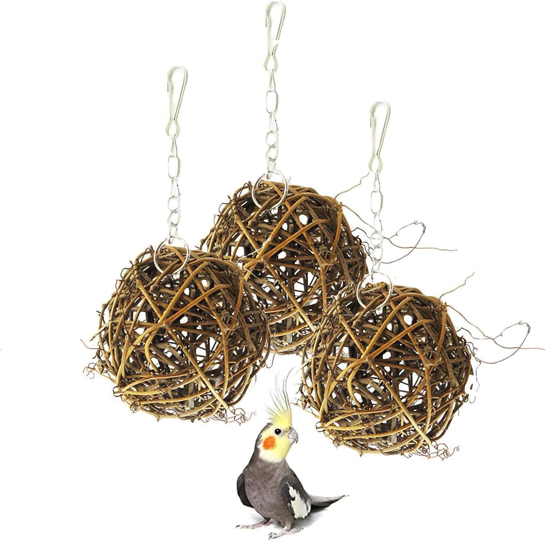 Hamiledyi Bird Activity Toys,Willow Branch Rattan Balls Chew Toy