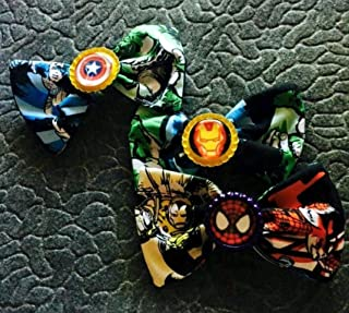 Marvel Comics fabric hair bow with bottle cap center, super hero hair bow, disneybound, party fabors, stocking stuffers capatin america, holk, thor spider man