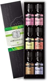 Slime Set of 6 Fragrance Oils - Premium Grade Scented Oil - 10ml - Bubble Gum, Cotton Candy, Cupcake, Pink Lemonade, Cola, Marshmallow