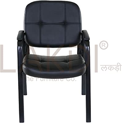 Lakdi Basics Guest Reception and Student Chair for Office Home and Institute (Black, Standard Size)