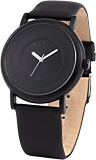 New Fashion Round Men's Women Unisex Black Leather Band Quartz Wrist Watch SNB004