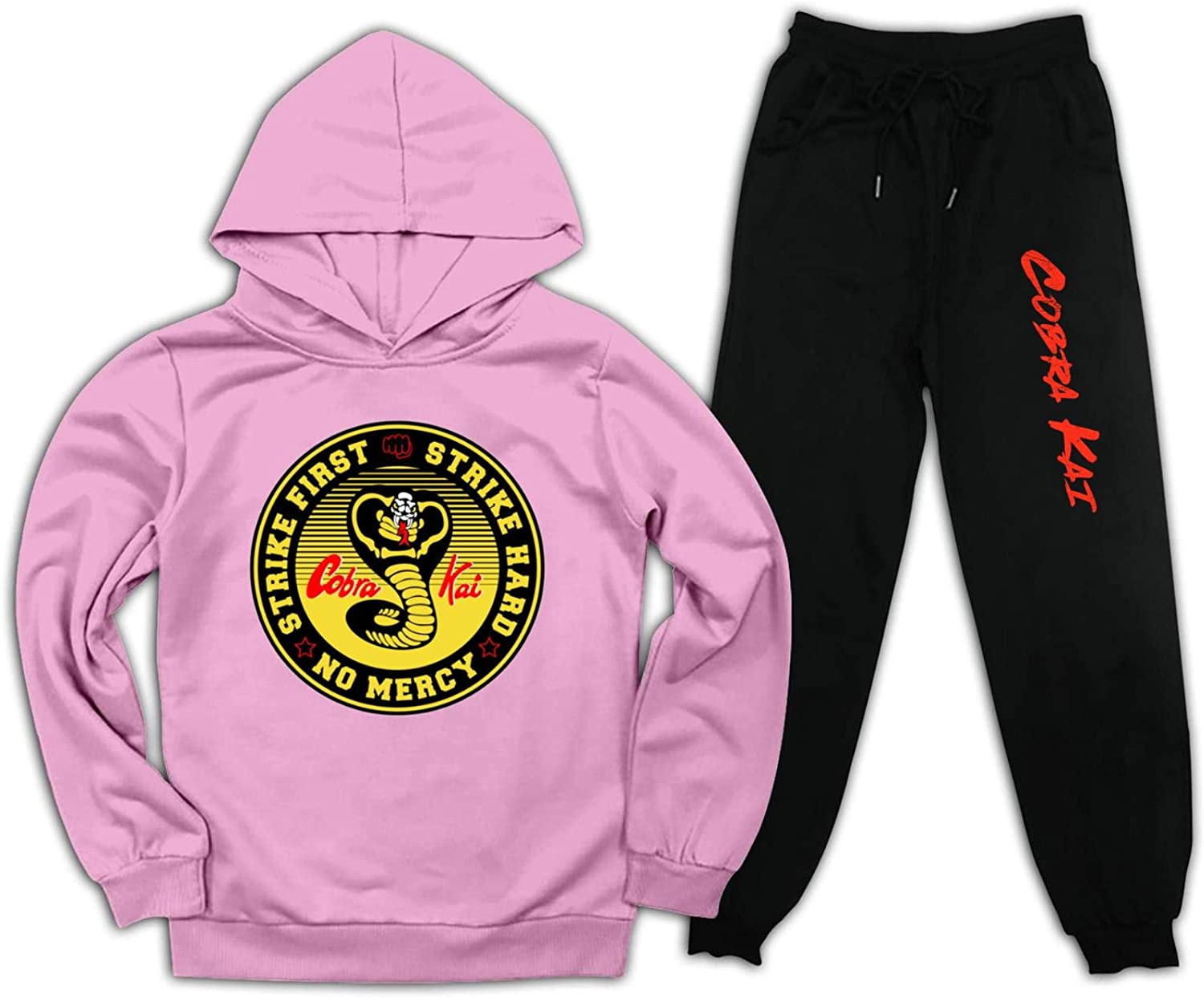 YAsedd Co-Bra Kai Pullover Hoodie and Sweatpants Suit for Boys Girls 2 Piece Outfits Sweatshirt Set