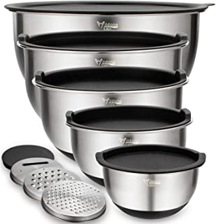 Mixing Bowls Set of 5, Wildone Stainless Steel Nesting Bowls with Airtight Lids, 3 Grater Attachments, Measurement Marks &...