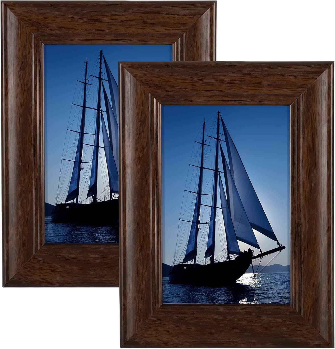 APPLE-TREE 4x6 Picture Frame Set of 2, Photo Frames High Definition Plexiglass for Tabletop or Wall Display & Home Décor, Brown
