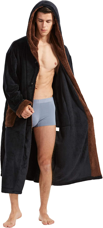 Mens Long Robes with Sale SALE% OFF Hood Full Hooded Plu Fleece famous Bathrobe Length