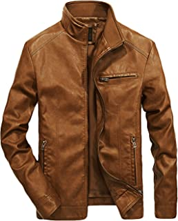 Men's Casual Full-Zip Retro Fitted PU Faux Leather Jacket