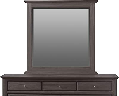 Benjara 43 Inch Square Molded Top Mirror with Wooden Frame, Gray