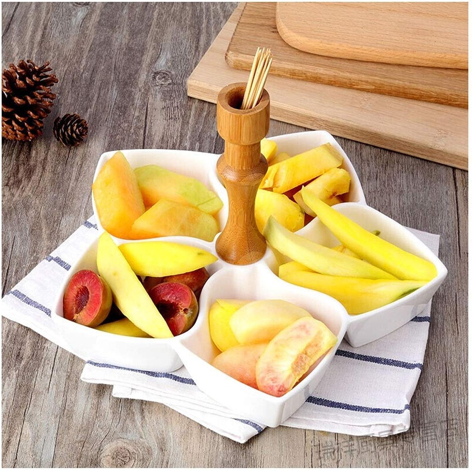 KISlink Coupe à Fruits en céramique AssortiHommest de Fruits à la Maison Assiette de Plat de Fruits Panier à Fruits créatif Plateau de Plats de Vie Moderne Plateau Blanc