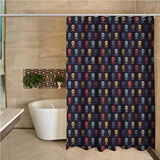 Lohebhuic Pixel Art Precision Custom Shower Curtain Skull with Bones Pirate Symbol Inspired Colorful Motifs on a Dark Toned Backdrop Modern Bathroom Decoration W63 x L70 Inch Multicolor
