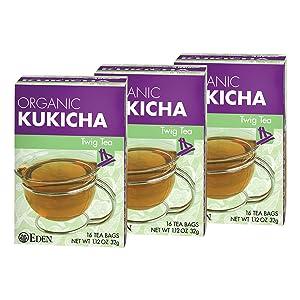 Eden Kukicha Organic Roasted Twig Tea, George Ohsawa Macrobiotic, Low Caffeine, 16 Unbleached Manila Tea Bags/Box (3-Pack)