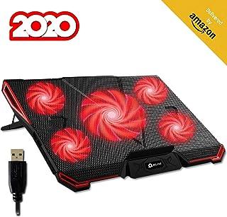 KLIM™ Cyclone - Base de Refrigeración para Portátil + Potente Refrigerador Portátil con 5 Ventiladores para Ordenador Gaming + Varias inclinaciones + Soporte Estable + Rojo [Nueva Versión 2020]