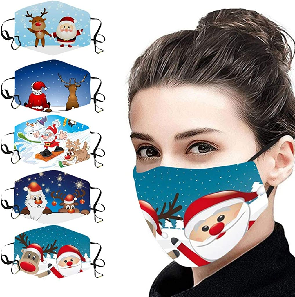 WoCoo 5pcs outlet Adult Mail order Christmas Print Washable Reusable Adjustable Du