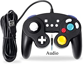 EXLENE Audio Wired USB Controller for Nintendo Switch with Audio Function (3M/10FT), Compatible with PC/PS3, GameCube Style, Motion Controls, Rumble, Turbo (Black)
