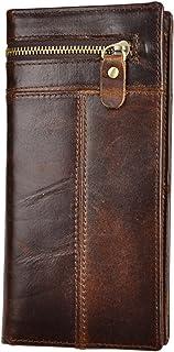 Mens Leather Zipper Pocket Id Business Card Case Holder Organizer Wallet Phone Case Designer Bifold Checkbook Purse