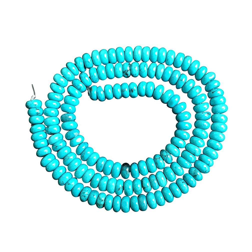 2 Strands Natural Turquoise Gemstone Rondelle Loose Stone Beads 6mm for Jewelry Making GRB-3