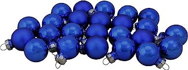 "Northlight 24ct Blue Glass 2-Finish Christmas Ball Ornaments 1"" (25.25mm)"