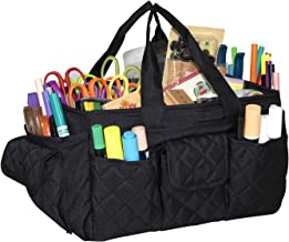 Everything Mary Black Quilted Caddy Storage Craft Bag Organizer for Crafts, Sewing, Paper, Art, Desk, Canvas, Supplies Storage Organization with Handles for Travel