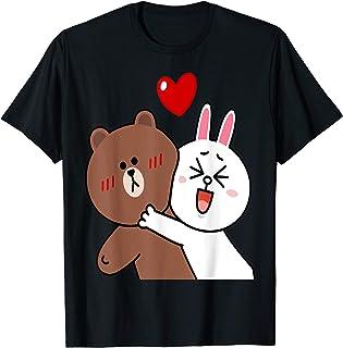 Cute brown bear cony bunny rabbit valentines lovers hug kiss T-Shirt