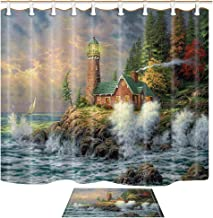 ChuaMi Lighthouse Shower Curtain Set, Coast Waves and Cape Tower House, Green Forest Landscape, Waterproof Bathroom Decor Polyester Fabric 69 x 70 Inches with Hooks and Anti-Slip 40 x 60cm Bath Mat