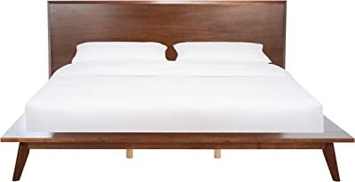 Safavieh Couture Home Collection Moxie Walnut Mid-Century No Box Spring Required King Bed SFV4112A-K-3BX