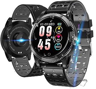 LIDOFIGO Smartwatch,Reloj Inteligente con Monitor de Sueño,Pulsómetro,Cronómetros Podómetro Pulsera Actividad Inteligente Impermeable IP68 Smartwatch Hombre Reloj Deportivo para Android iOS