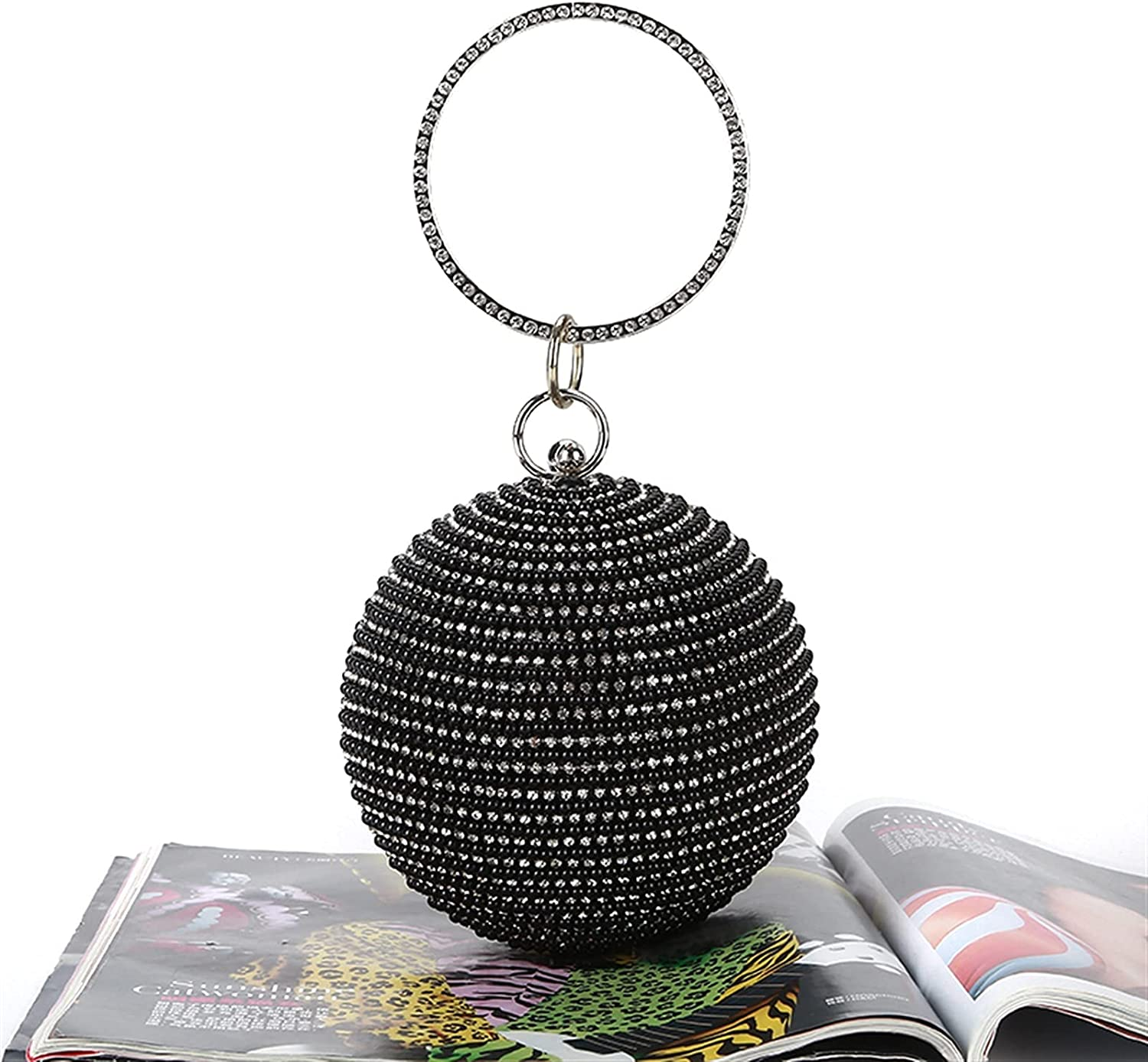 ATHH Clutch Purses for Women Evening,Round Ball Handbag Artificial Pearl Purse Lady Party Wedding Bag,Ring Handle Purse