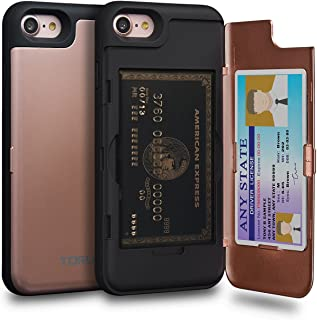TORU CX PRO iPhone 8 Wallet Case Pink with Hidden Credit Card Holder ID Slot Hard Cover & Mirror for iPhone 8 / iPhone 7 - Rose Gold