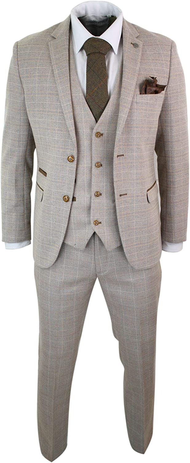 Mens Check Cheap mail Ranking TOP9 order shopping Tweed Beige Brown 3 Prom Wedding Suit Vintage Piece R