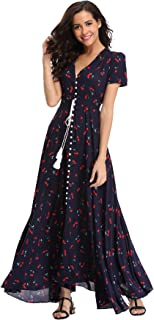 Ferrendo Summer Women's Floral Maxi Dress Button Up Split Flowy Bohemian Party Beach Dresses