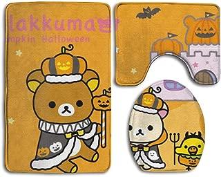 SKONS Ril-akk-uma Halloween Washable Bathroom Rug Mats Set 3 Piece Anti-Skid Pads Bath Mat + Contour + Toilet Lid Cover