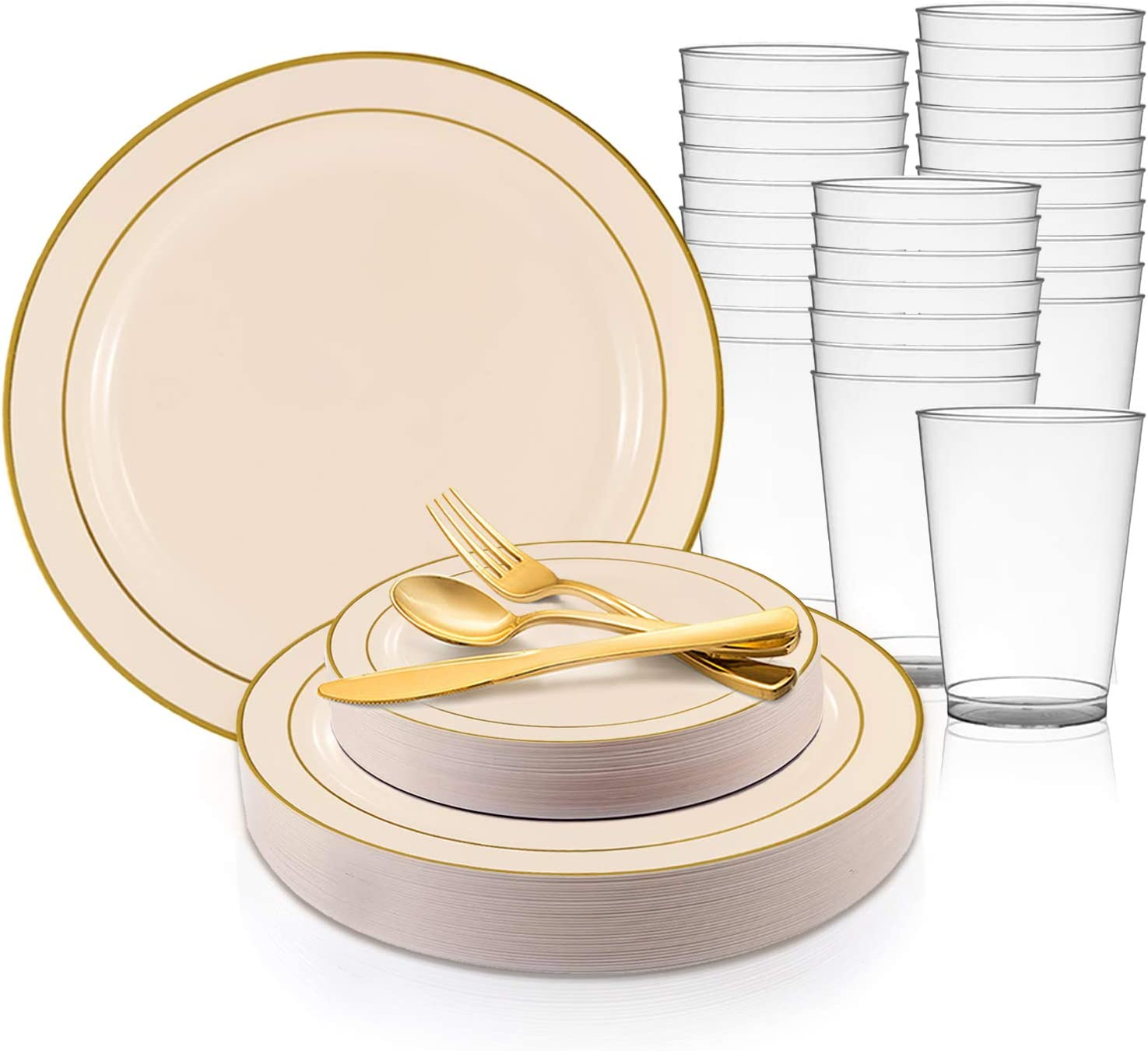360 Piece Elegant Disposable Plastic Max 69% OFF Milwaukee Mall Set 60 Guest Dinnerware for