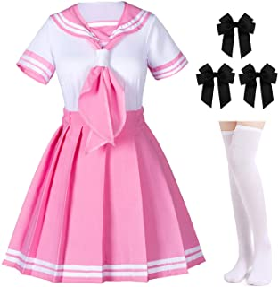 Elibelle Classic Japanese Anime School Girls Pink Sailor Dress Shirts Uniform Cosplay Costumes with Socks Hairpin Set