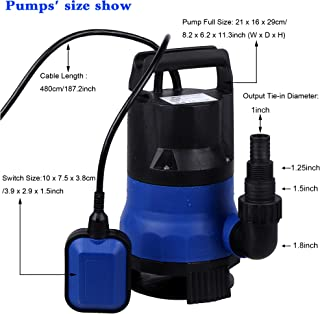 Homdox 1/2 HP Sump Pump Submersible Water Pump Clean/Dirty Water 2115GPH 400W 15ft Cable and Float Switch (Blue)