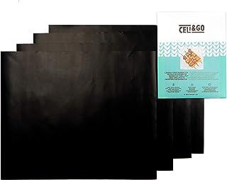 CELI&GO 4 Tapis de Cuisson BBQ Barbacue Plaque Feuilles de Cuisson Four Feuille Grill Anti-Adhésifs, Réutilisables, Lavabl...