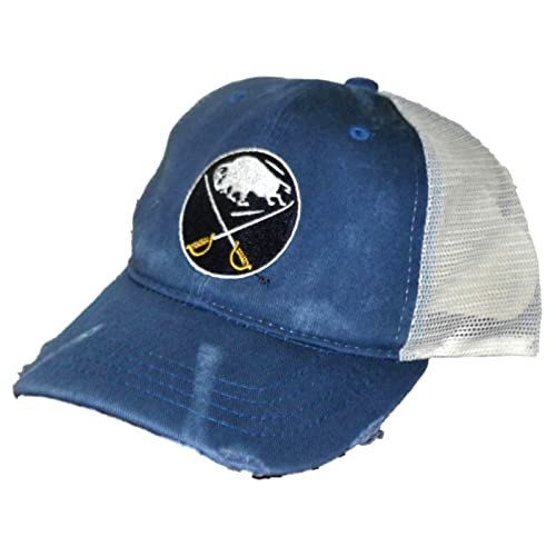11aaf4967ae Buffalo Sabres Retro Brand Blue Worn Mesh Vintage Adjustable Snapback Hat  Cap