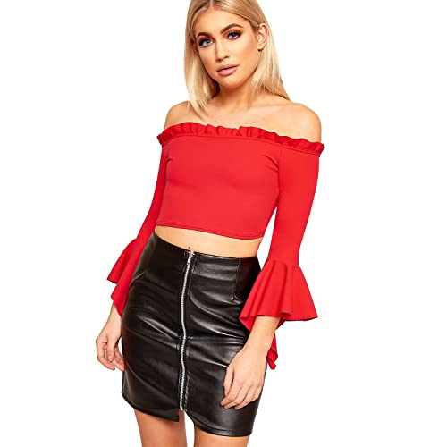 dc3b83d2c4882f WearAll Women's Cropped Off Shoulder Ruffle Frill Flared Bell Sleeve Ladies  Bardot Top ...