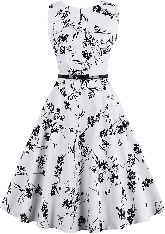 DearQueen Boatneck Sleeveless Vintage Tea Dress with Belt
