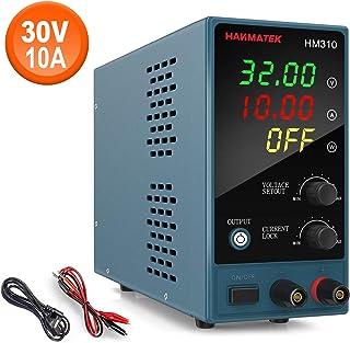 Fuente de alimentación de banco HANMATEK HM310 Fuente de alimentación de laboratorio de conmutación regulada Ajustable desde 30V / 10A Pantalla LED de 4 dígitos