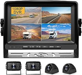 $349 » Fursom 9'' 1080P DVR Wired Backup Camera System , HD Quad Split Monitor, 4 x Cameras, IP69 Waterproof Side Rear View Car R...