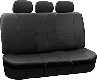 FH Group PU002BLACK013 Black Faux Leather Split Bench Car Seat Cover Works with Split Bench