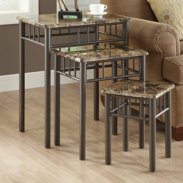 Monarch Specialties Bronze Metal Nesting Table Set With Cappuccino Marble Top 3 Piece