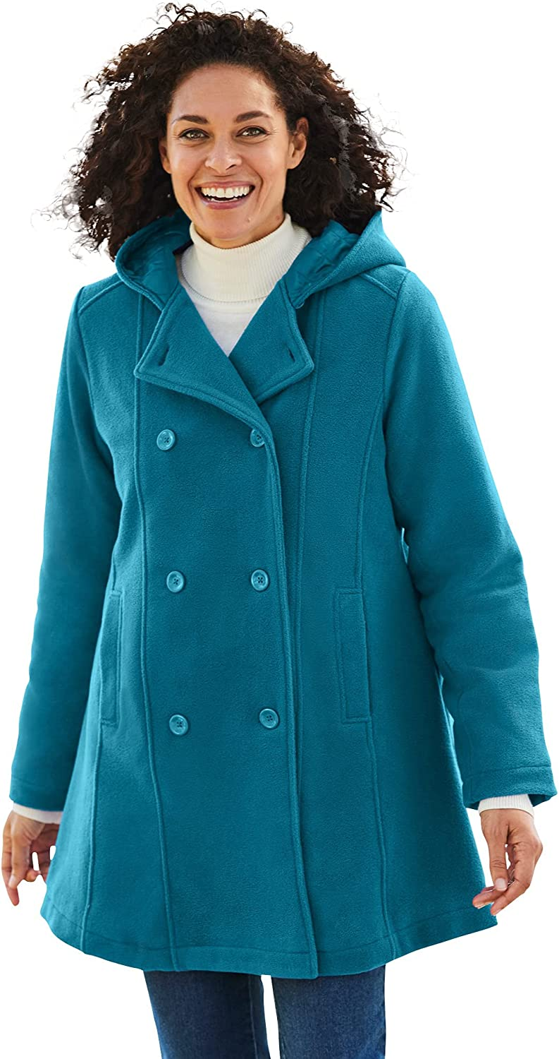 Woman Within Women's Plus Size Double-Breasted Hooded Fleece Peacoat