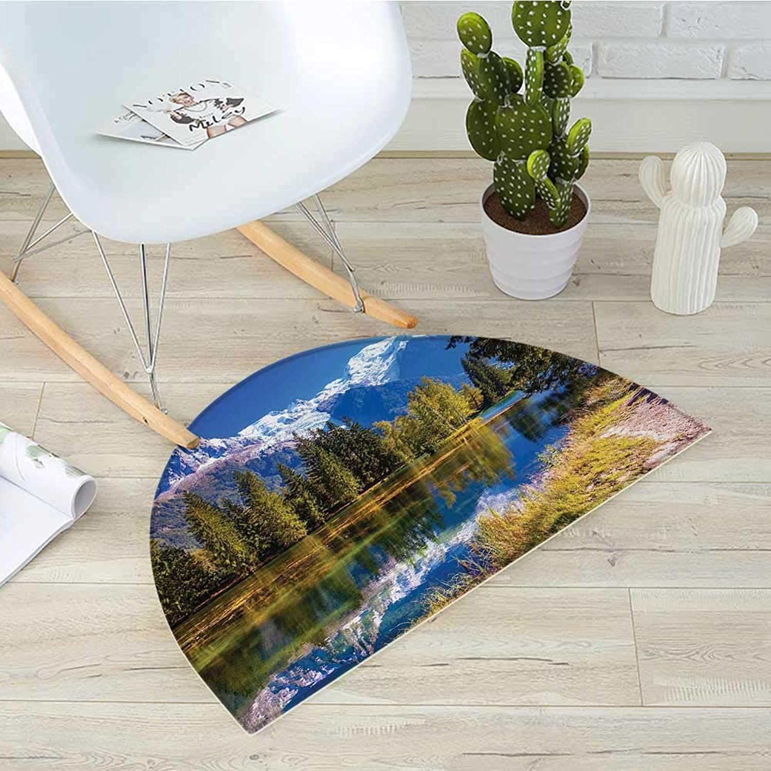 Mountain Semicircle Doormat Snow Covered Alps Peaks Covered with Fir Trees in Lake Natural Paradise Halfmoon doormats H 43.3  xD 64.9  Green White bluee
