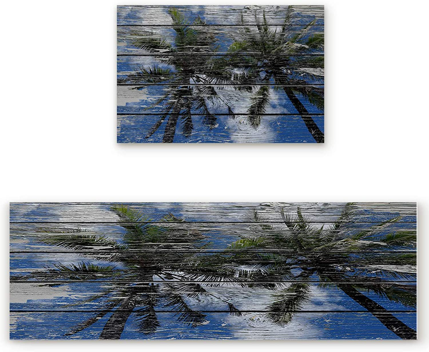 SODIKA 2 Pieces Kitchen Rug Set,Non-Skid Slip Washable Doormat Floor Runner Bathroom Area Rug Carpet,Tropical Palm Tree Painted on Wooden Board (19.7x31.5in+19.7x63 inches)