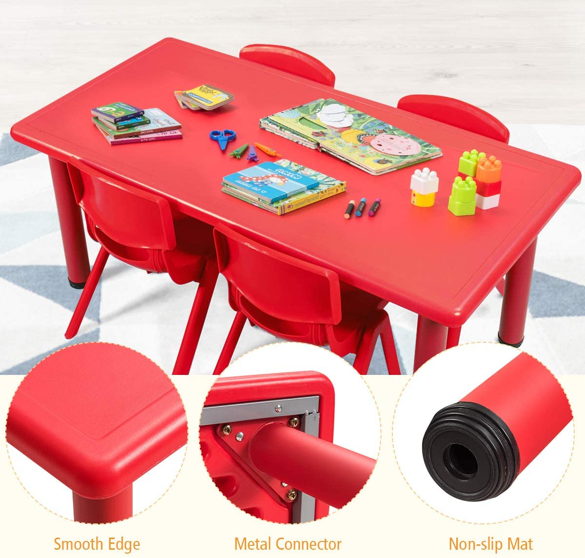 Kindergartens Preschools Indoor//Outdoor Weather-proof Fade-resi DORTALA Kids Table and Chairs Set Activity Desk /& Chair Set Suitable for Daycares Home Table /& 4 Stackable Chairs for Children Reading /& Painting /& Playing /& Snack Time Pre-k classrooms