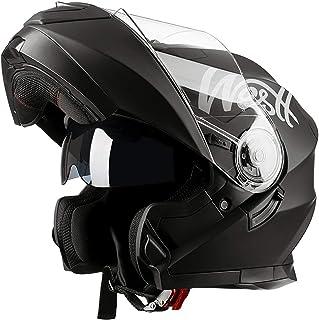 Westt Torque X - Casco De Moto Modular Integral con Doble Visera -Negro Mate - Motocicleta Scooter Absorbe Impacto - certificado ECE