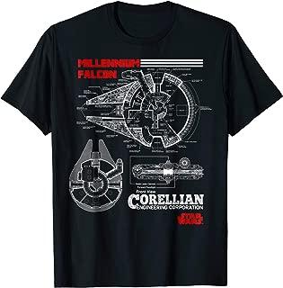 star wars millennium falcon blueprint t shirt