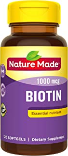 Nature Made Biotin 1000 mcg Softgels, 120 Count (Packaging May Vary)